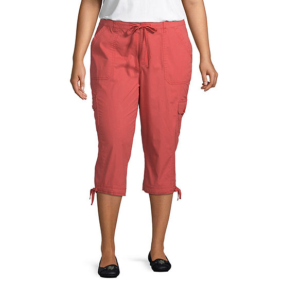St. John's Bay Drawstring Cargo Crop Pant - Plus