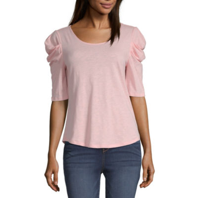 a.n.a Womens Round Neck Short Sleeve Knit Blouse