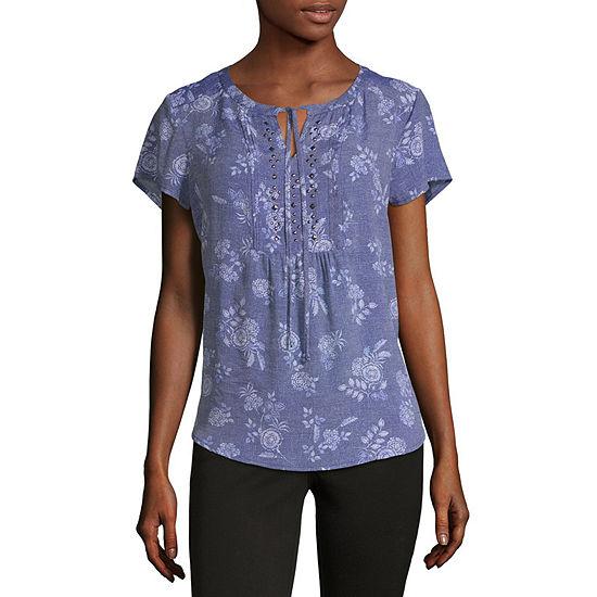 Liz Claiborne Womens Split Crew Neck Short Sleeve Embellished Blouse