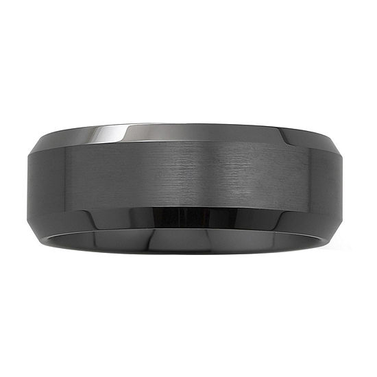 Mens Beveled Ceramic Band