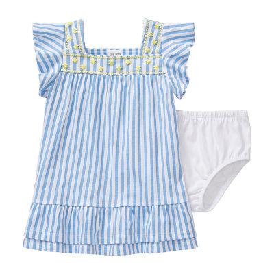 Okie Dokie - Baby Girls Short Sleeve Striped A-Line Dress
