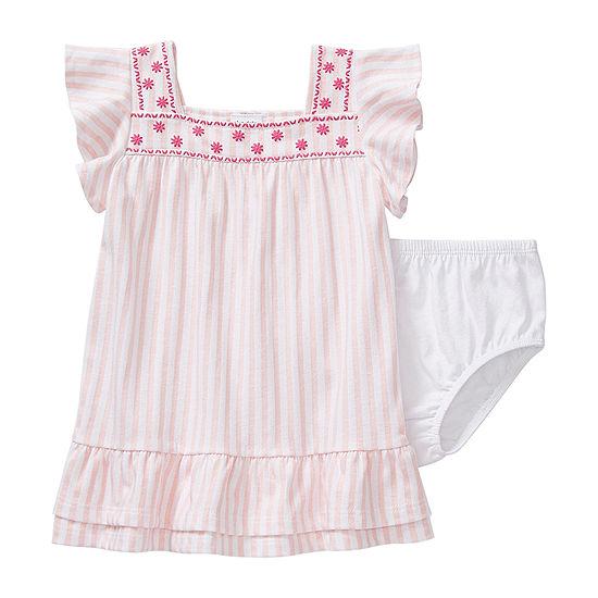 Okie Dokie Baby Girls Short Sleeve Striped A-Line Dress