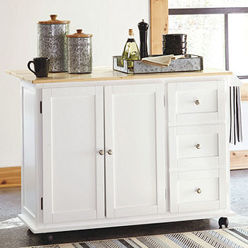 Signature Design By Ashley Withurst Wood Top Kitchen Cart Color White Brown Jcpenney