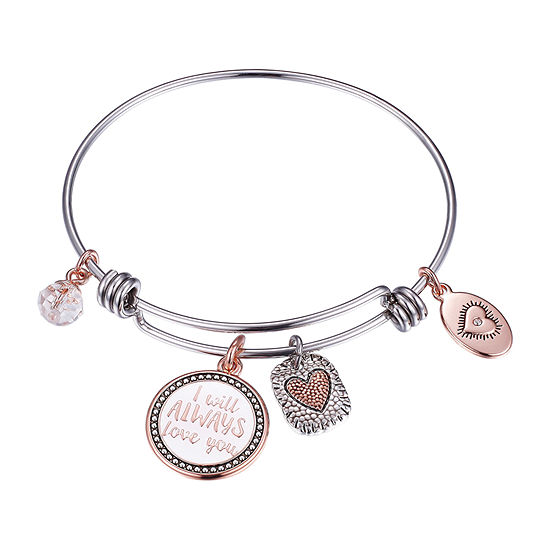 Footnotes The Love Between A Mother And Daughter Is Forever Clear Pure Silver Over Brass Round Bangle Bracelet