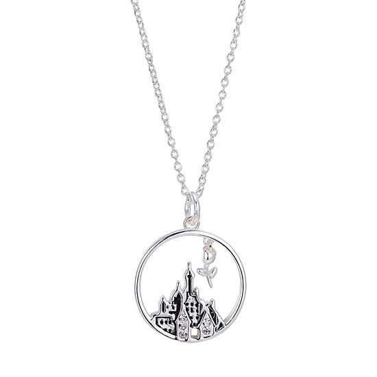 Disney Beauty and the Beast Crystal Silver Over Brass 16 Inch Link Pendant Necklace