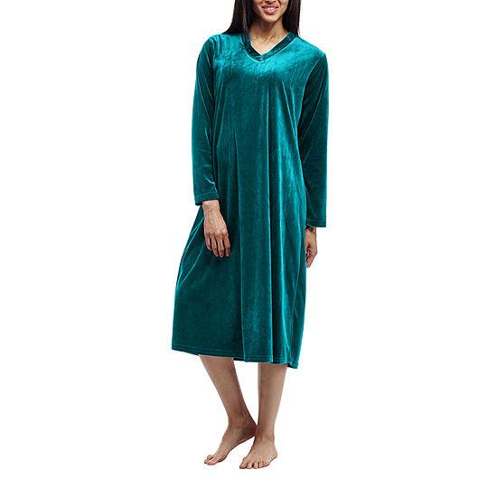 La Cera Womens Knit Nightgown Long Sleeve V Neck