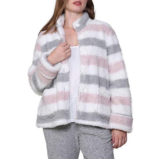 La Cera Womens Fleece Bed Jacket Long Sleeve Button