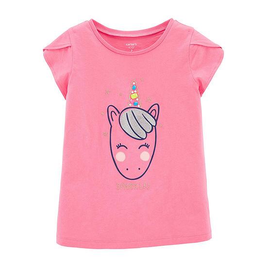 Carter's - Little Kid / Big Kid Girls Crew Neck Short Sleeve Graphic T-Shirt