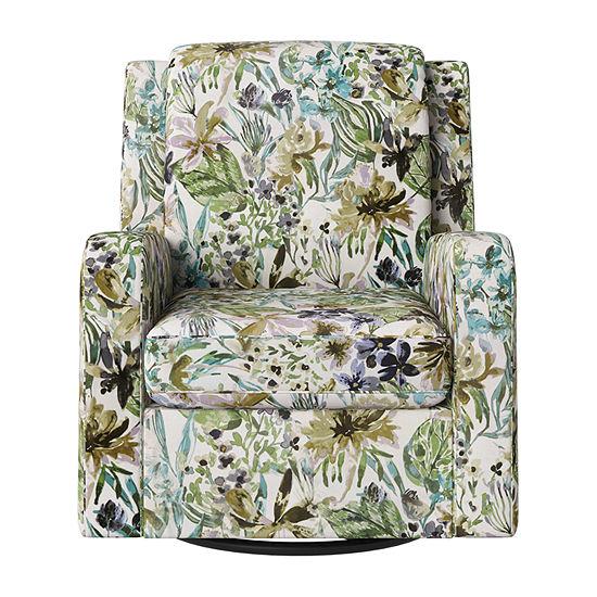 Amelie Track-Arm Swivel Chair in Velvet
