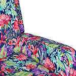 Amelie Track-Arm Swivel Chair in Velvet