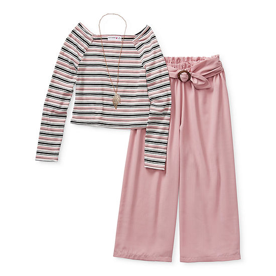 Knit Works Pant Sets Little Kid / Big Kid Girls 2-pc. Striped Pant Set