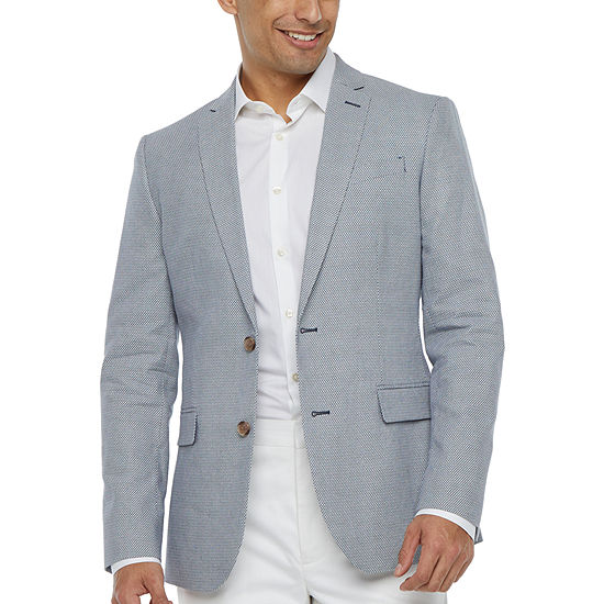 JF J.Ferrar Mens Blue Diamond Slim Fit Sport Coat
