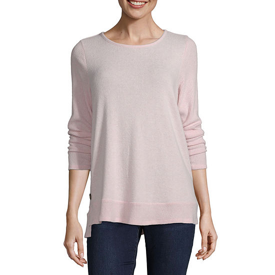 Alyx Womens Round Neck Long Sleeve Knit Blouse