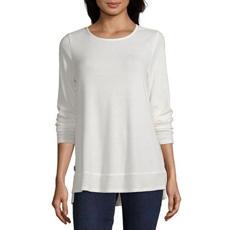 Alyx Womens Round Neck Long Sleeve Knit Blouse, Large , White