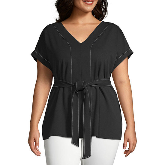 Worthington Womens Contrast Stitch Belted Top - Plus
