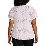 Liz Claiborne Short Sleeve Flutter Top - Plus