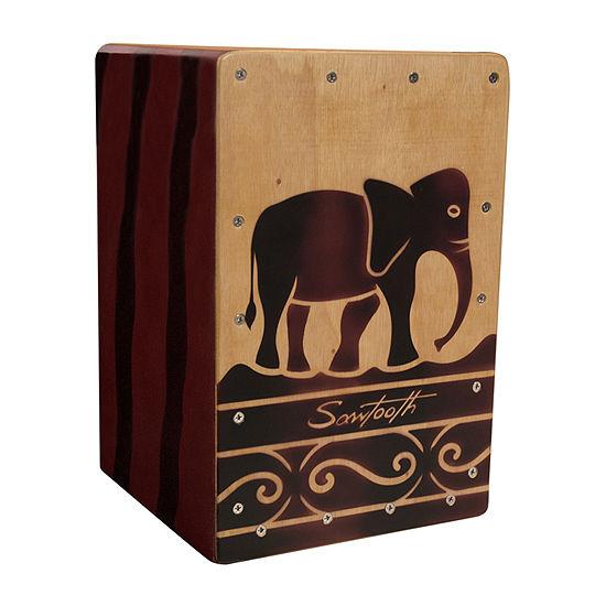 Sawtooth Harmony Series Hand-Stained Elephant Design Travel Size Cajon