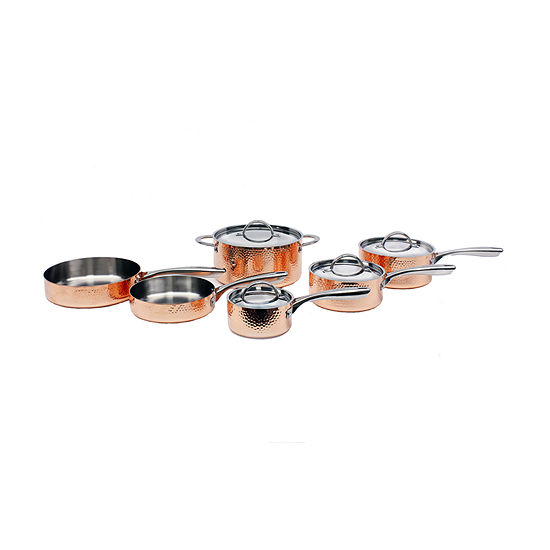 BergHOFF Vintage Hammered 10-Pc. Cookware Set 10-pc. Stainless Steel Non-Stick Cookware Set