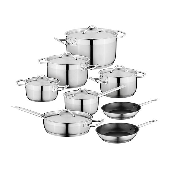BergHOFF Essentials Hotel Line 14-Pc. Stainless Steel Non-Stick Cookware Set