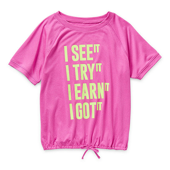 Xersion Little & Big Girls Scoop Neck Short Sleeve T-Shirt