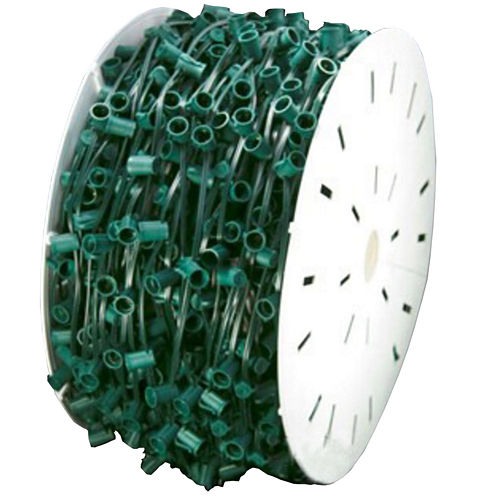 """1000' Commercial C9 Socket Sets Spool with 12"""" Spacing Green Wire"""