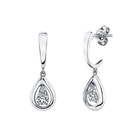 Sirena 1/8 CT. T.W. Genuine White Diamond 14K White Gold Drop Earrings