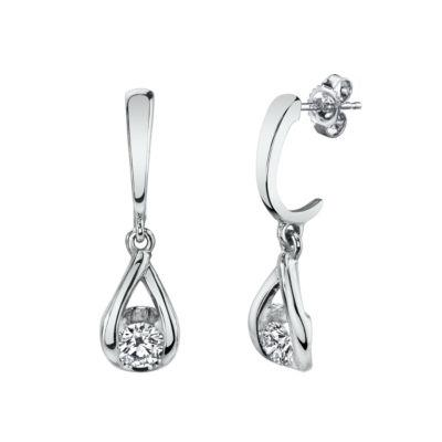 Sirena 1/5 CT. T.W. Genuine White Diamond 14K White Gold Drop Earrings
