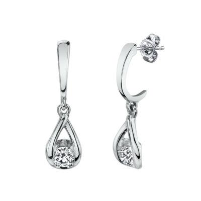 Sirena 1/5 CT. T.W. Genuine White Diamond 14K White Gold Drop Earrings