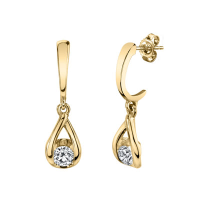 Sirena 1/5 CT. T.W. Genuine White Diamond 14K Gold Drop Earrings