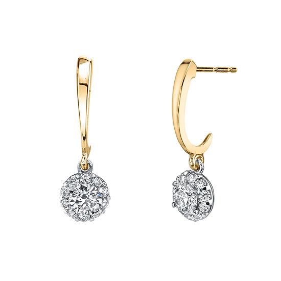 Sirena 1/2 CT. T.W. Genuine White Diamond 14K Gold Drop Earrings