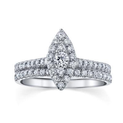 Sirena Womens Genuine White Diamond 14K Gold Engagement Ring