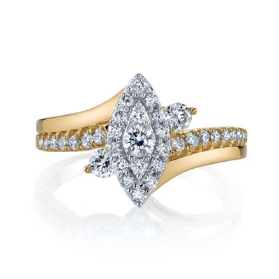 Sirena Womens 5/8 CT. T.W. Round White Diamond 14K Gold Engagement Ring