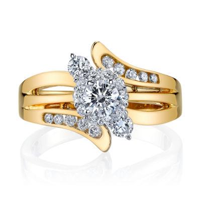 Sirena Womens 3/4 CT. T.W. Genuine Round White Diamond 14K Gold Engagement Ring