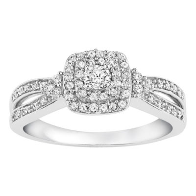 Womens 3/8 CT. T.W. Genuine White Diamond 14K White Gold Engagement Ring