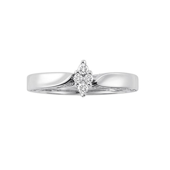 Womens 1/8 CT. T.W. Genuine White Diamond Sterling Silver Cluster Engagement Ring