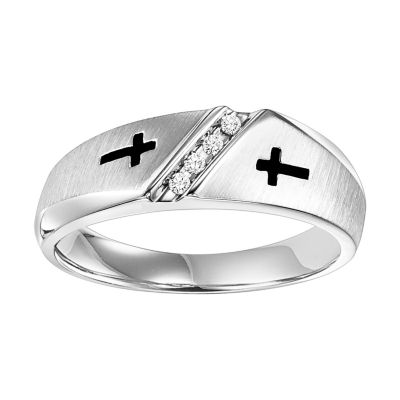 Mens Diamond Accent Genuine White Diamond Sterling Silver Band