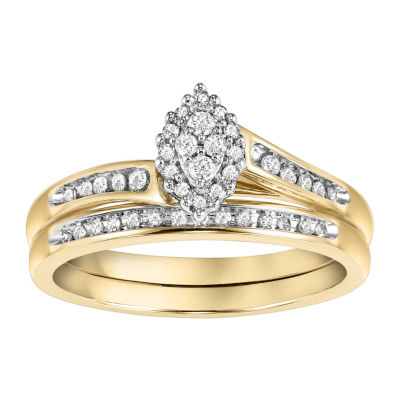 Womens 1/5 CT. T.W. Round White Diamond 10K Gold Bridal Set