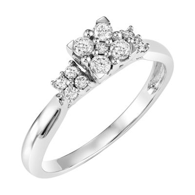 Womens 1/3 CT. T.W. Genuine White Diamond 10K Gold Engagement Ring