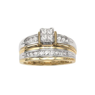Womens 1/2 CT. T.W. Genuine Multi-Shape White Diamond 14K Gold Bridal Set