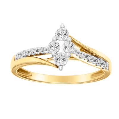 Womens 1/3 CT. T.W. Round White Diamond 10K Gold Engagement Ring
