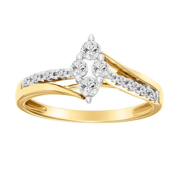 Fine Jewelry Womens 1/3 CT. T.W. White Diamond 10K Gold Engagement Ring 5Dfc2FDP