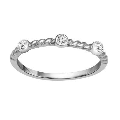 Diamond Accent Genuine White Diamond 10K White Gold Stackable Ring