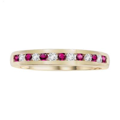 Womens 1/6 CT. T.W. Diamond & Lead-Glass Filled Ruby 10K Gold Wedding Band