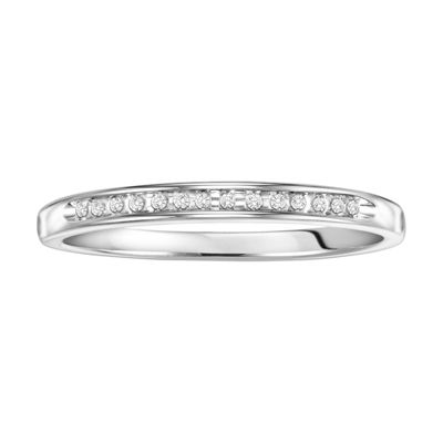 Womens Diamond Accent White Diamond Sterling Silver Wedding Band