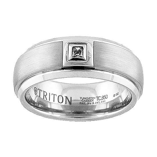 Unisex 8MM 1/10 CT. T.W. Genuine White Diamond Tungsten Wedding Band