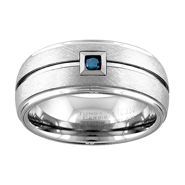 Unisex 1/10 CT. T.W. Color Enhanced Blue Diamond Tungsten Wedding Band