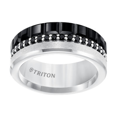 Unisex Genuine Black Sapphire Sterling Silver Tungsten Wedding Band