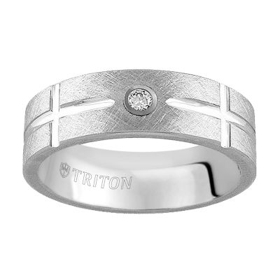 Unisex Diamond Accent White Diamond Tungsten Wedding Band