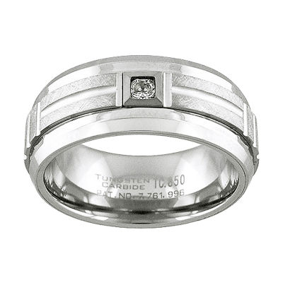 Unisex 1/10 CT. T.W. White Diamond Tungsten Wedding Band