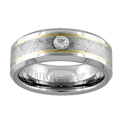 Unisex 8mm Diamond Accent Genuine White Diamond 14K Gold Tungsten Round Wedding Band